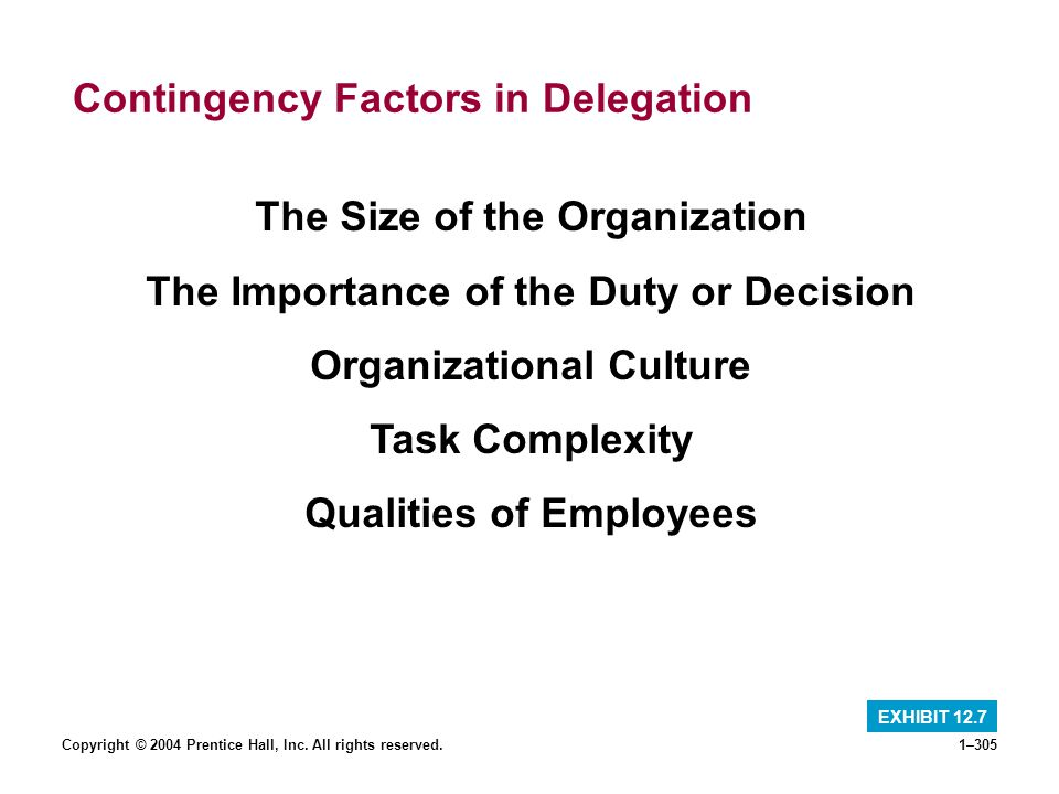 Contingency Factors in Delegation