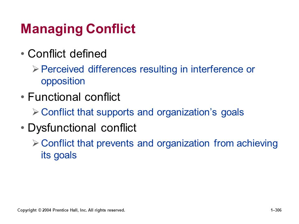 Managing Conflict Conflict defined Functional conflict