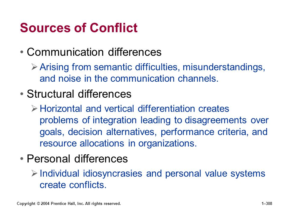 Sources of Conflict Communication differences Structural differences