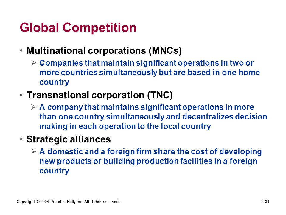 Global Competition Multinational corporations (MNCs)