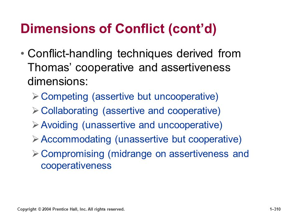Dimensions of Conflict (cont'd)