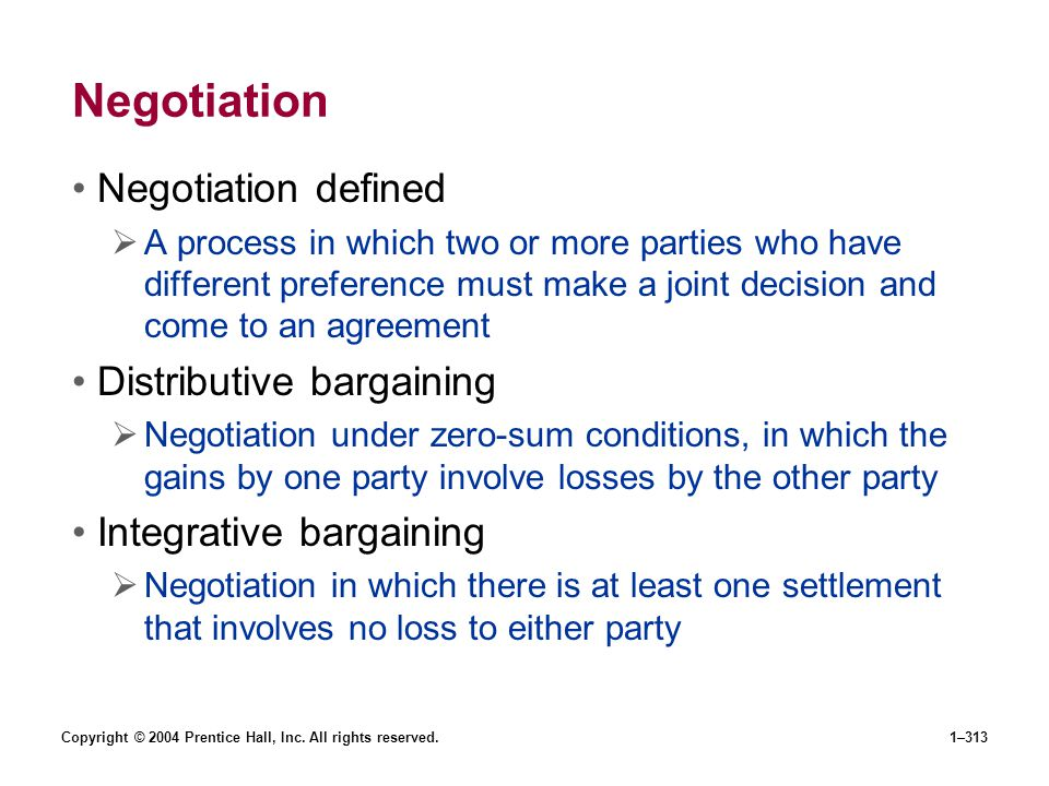 Negotiation Negotiation defined Distributive bargaining