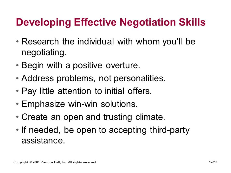 Developing Effective Negotiation Skills