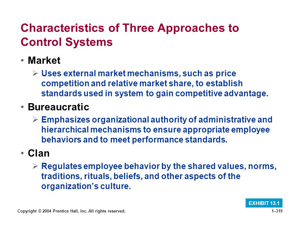 Characteristics of Three Approaches to Control Systems