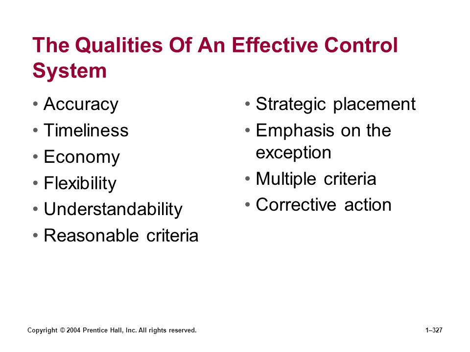 The Qualities Of An Effective Control System