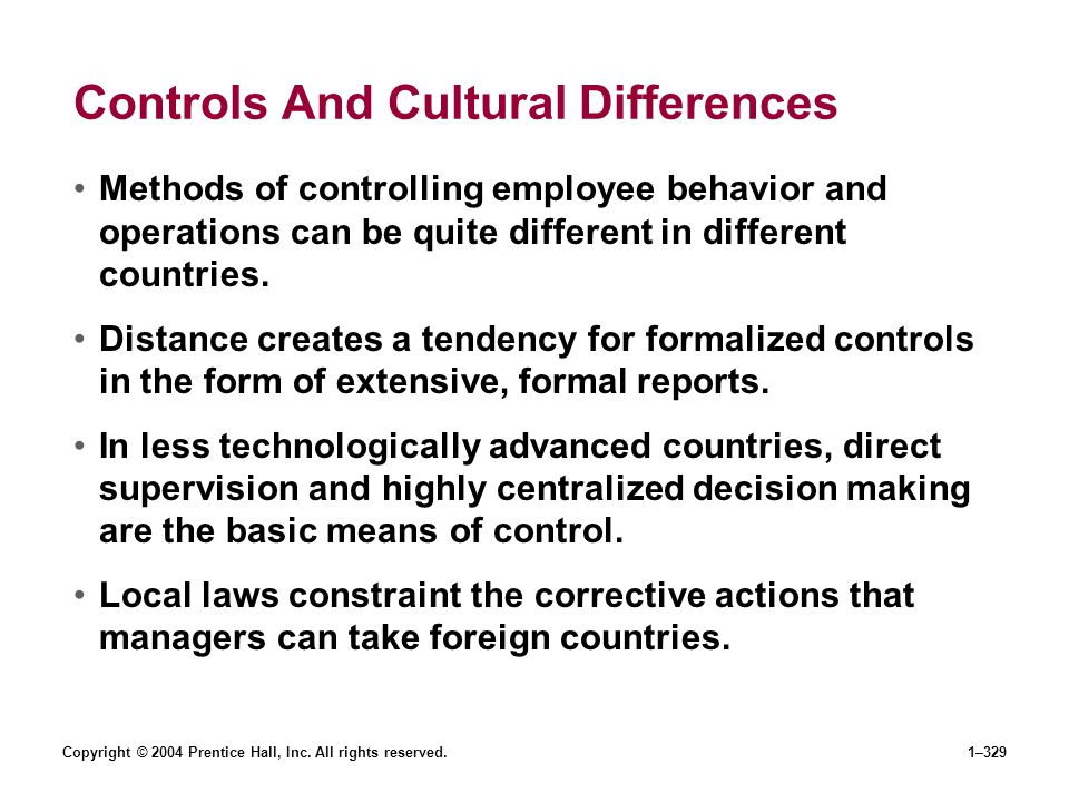 Controls And Cultural Differences