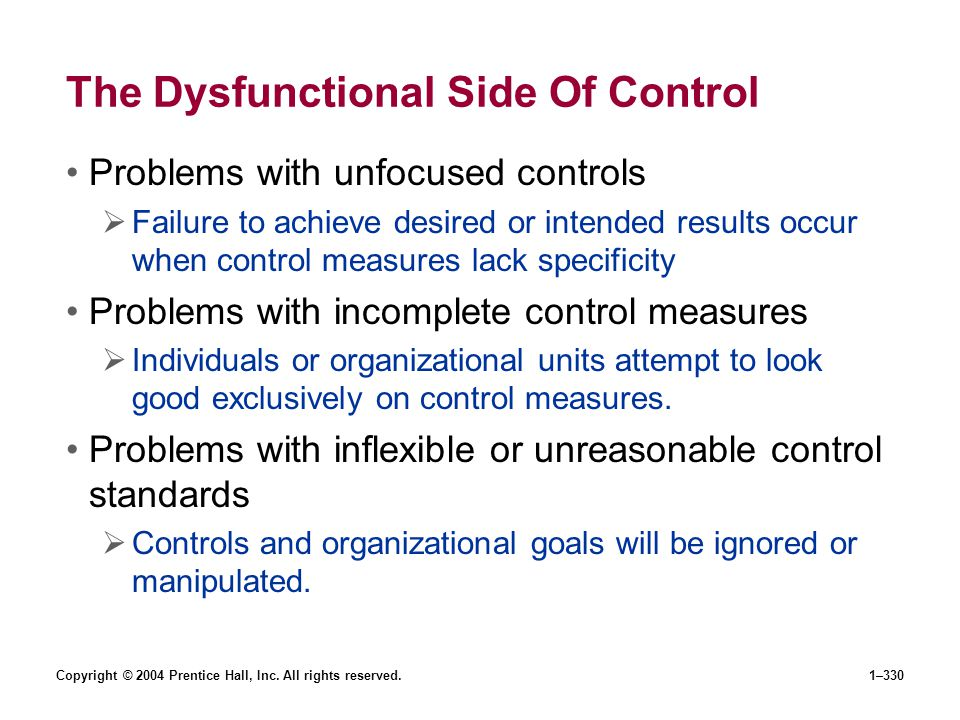 The Dysfunctional Side Of Control