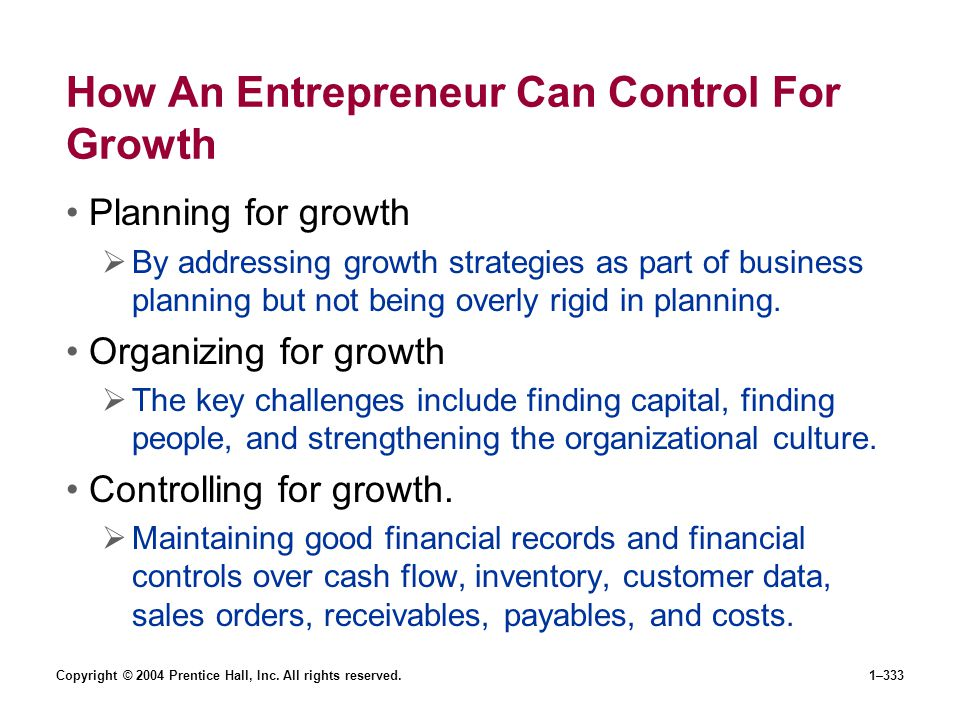 How An Entrepreneur Can Control For Growth