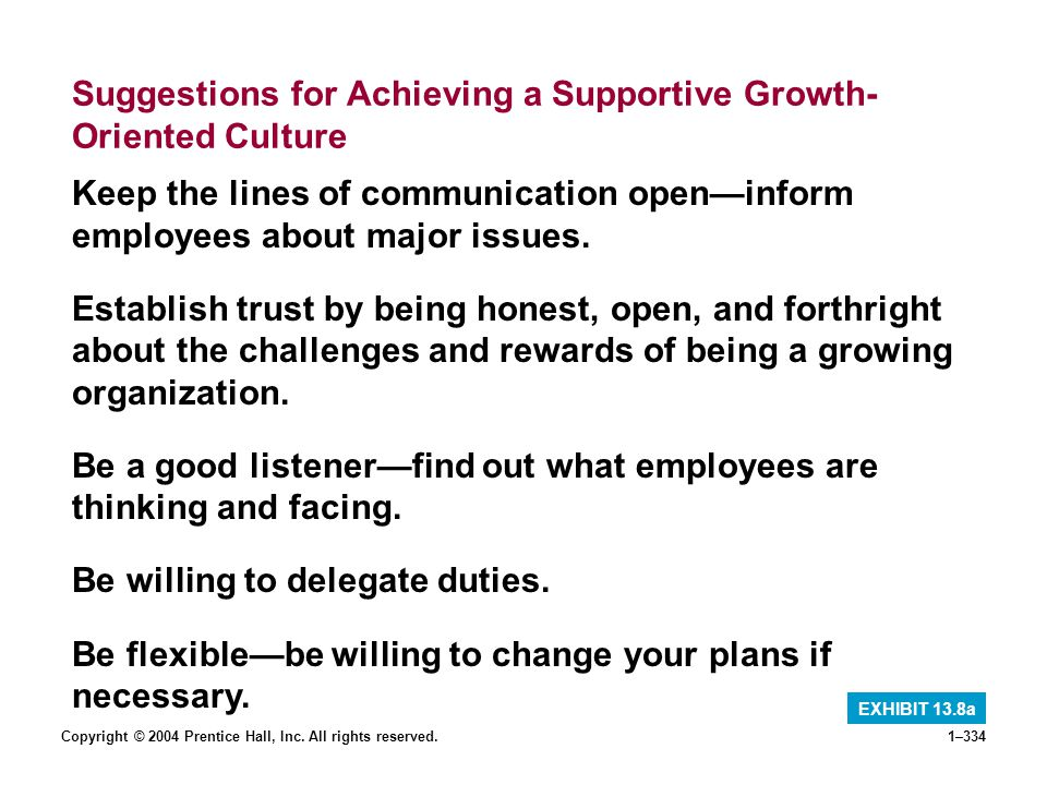 Suggestions for Achieving a Supportive Growth-Oriented Culture