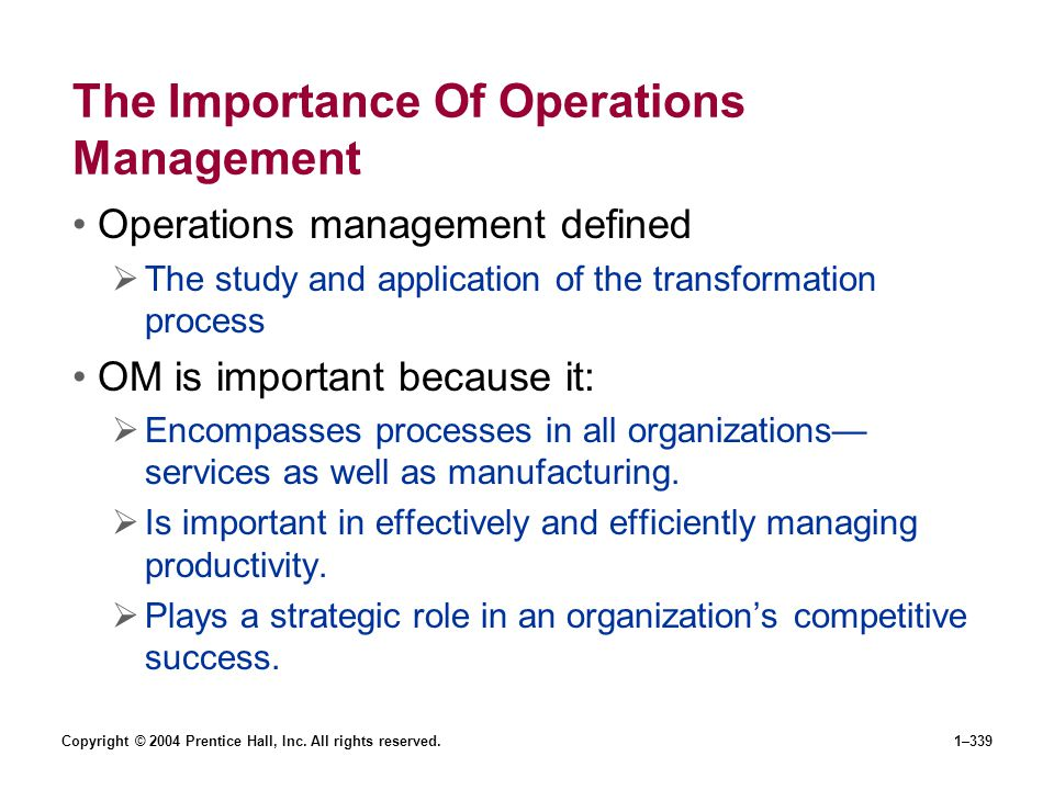 The Importance Of Operations Management