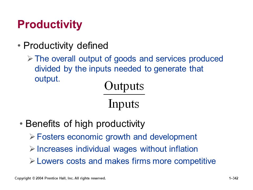 Productivity Productivity defined Benefits of high productivity