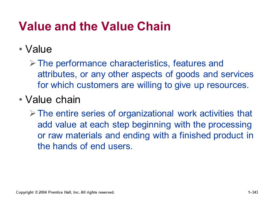 Value and the Value Chain