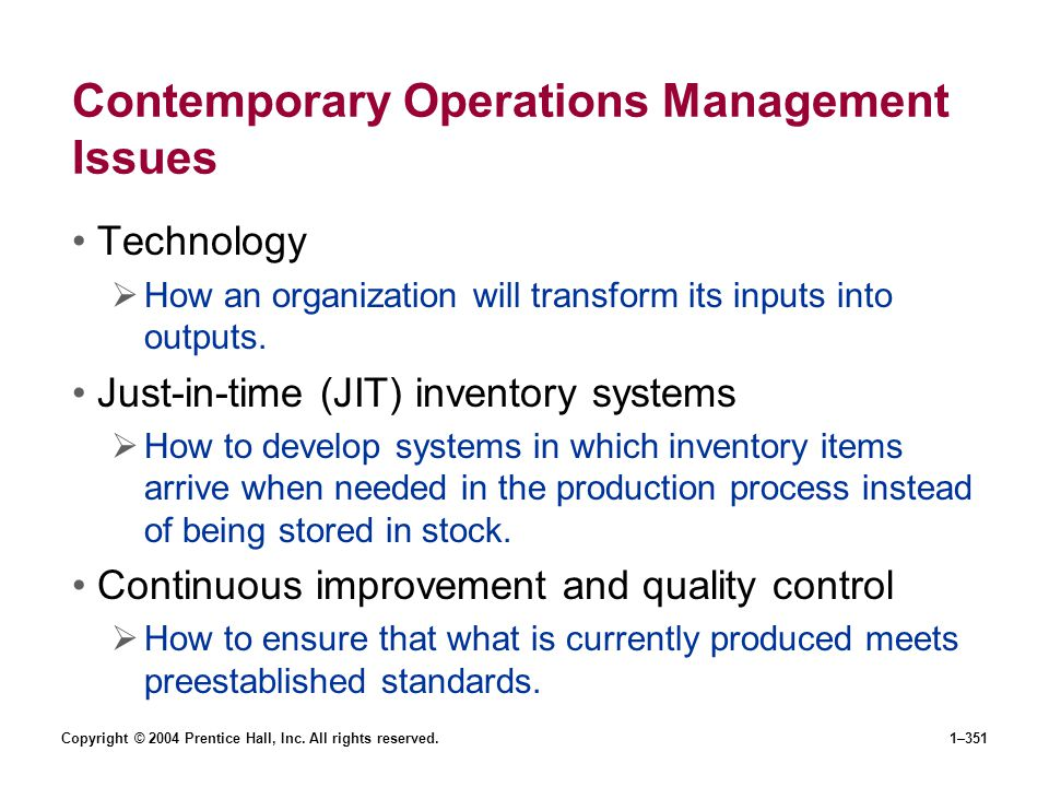 Contemporary Operations Management Issues