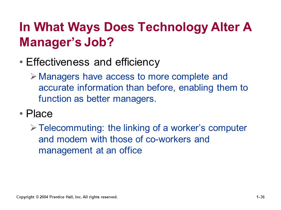 In What Ways Does Technology Alter A Manager's Job