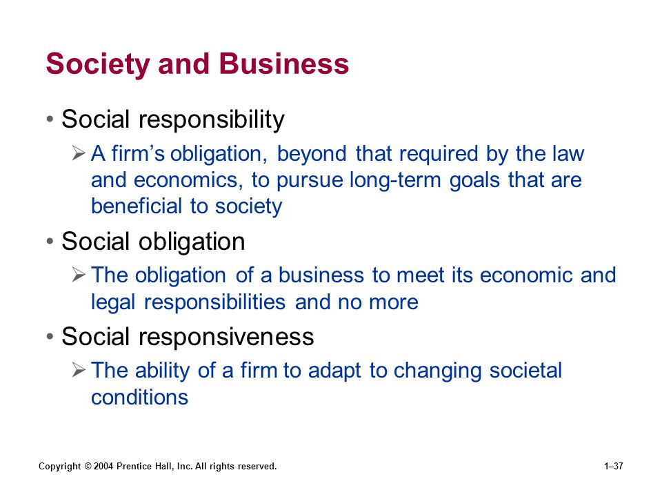 Society and Business Social responsibility Social obligation