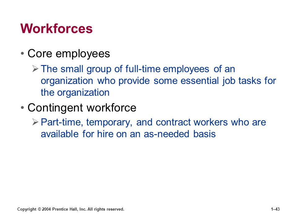 Workforces Core employees Contingent workforce