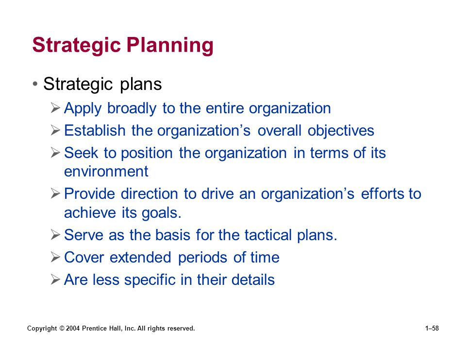 Strategic Planning Strategic plans