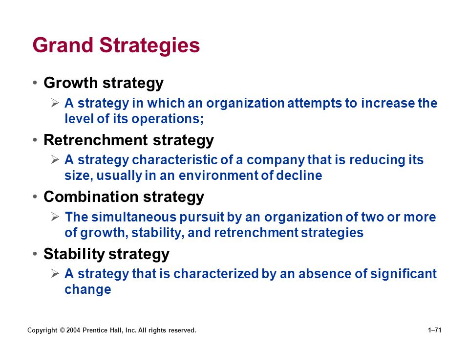Grand Strategies Growth strategy Retrenchment strategy