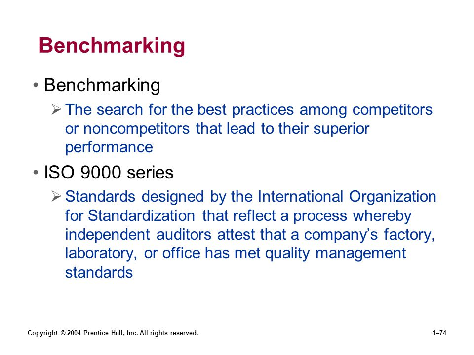 Benchmarking Benchmarking ISO 9000 series