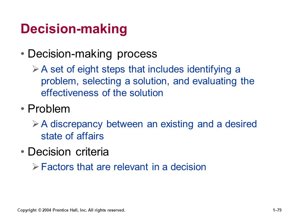 Decision-making Decision-making process Problem Decision criteria
