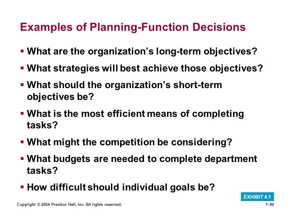 Examples of Planning-Function Decisions