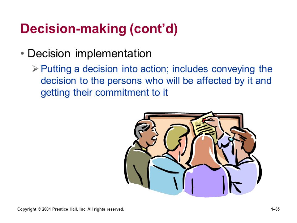 Decision-making (cont'd)