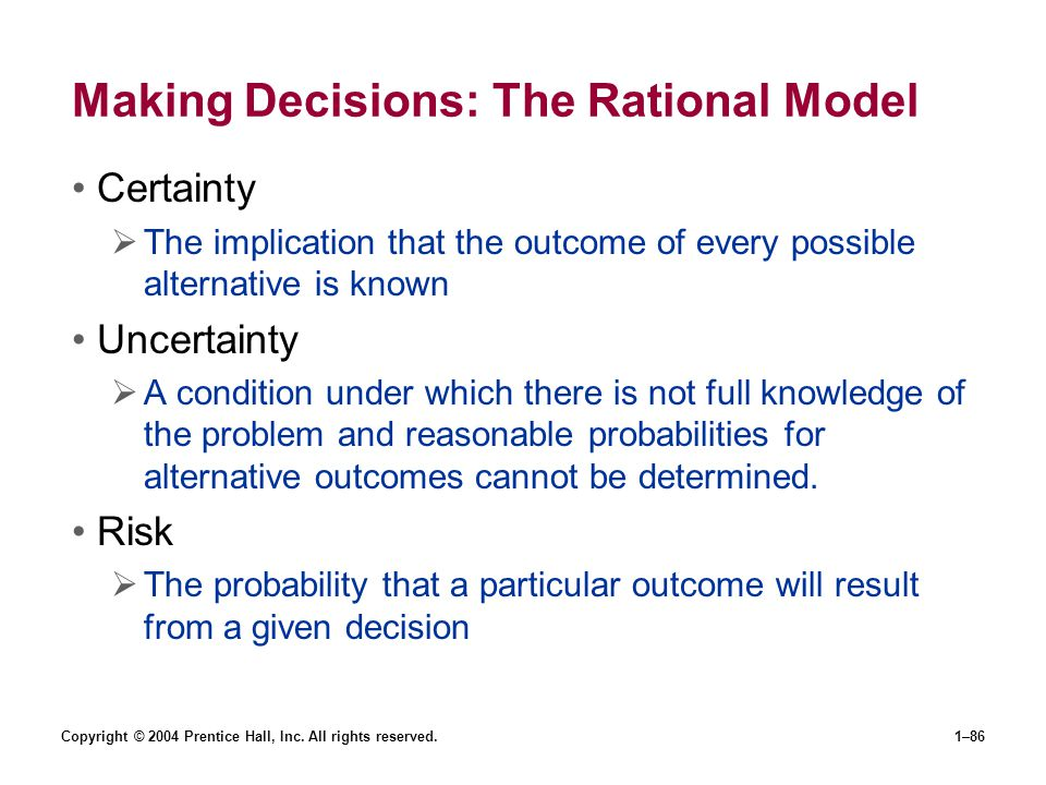 Making Decisions: The Rational Model