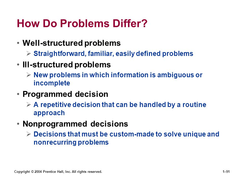 How Do Problems Differ Well-structured problems