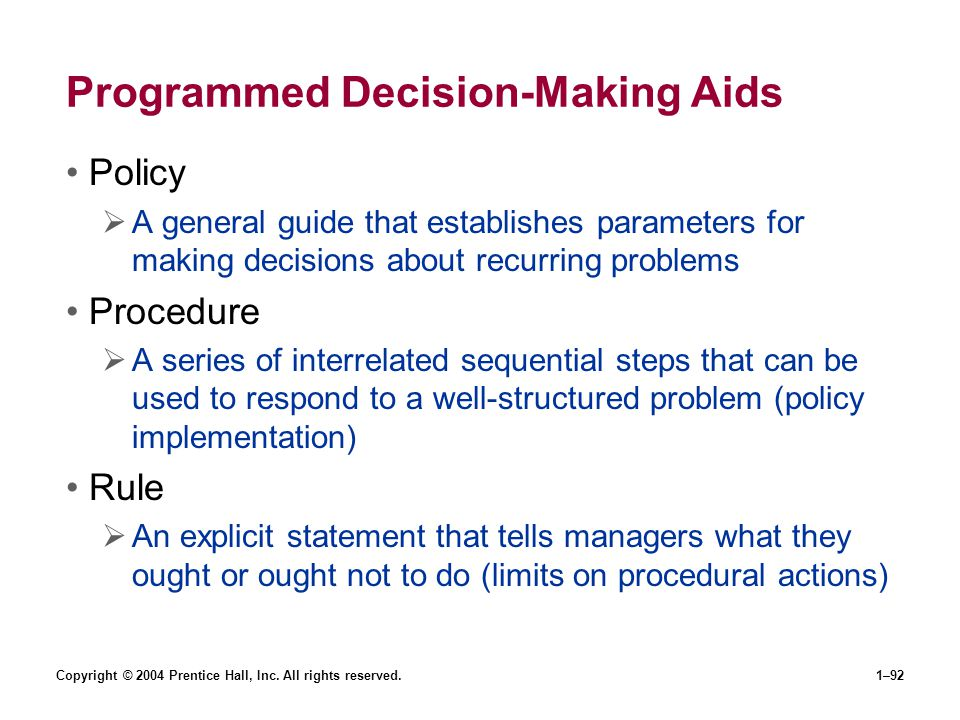 Programmed Decision-Making Aids