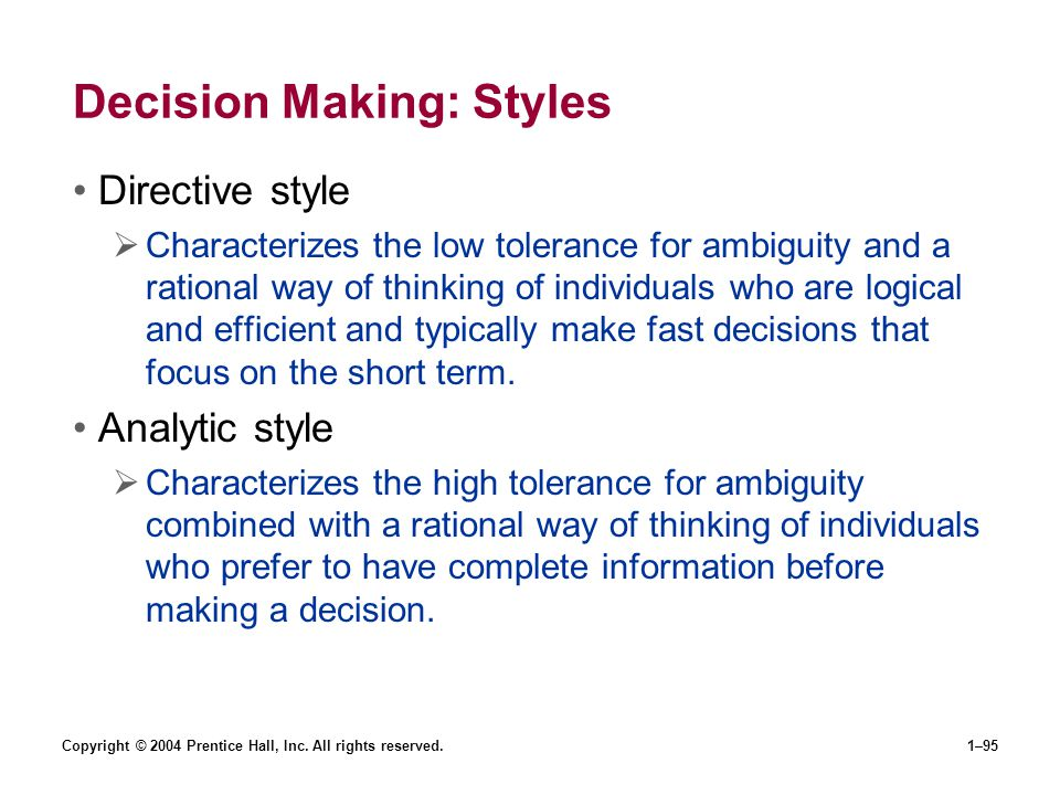 Decision Making: Styles