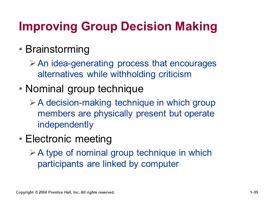 Improving Group Decision Making