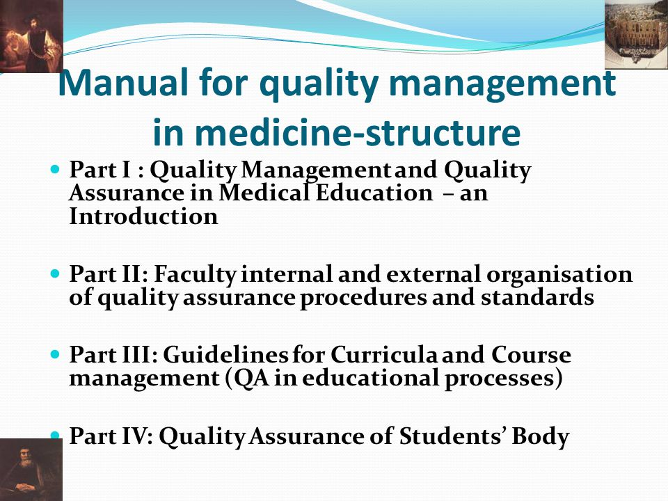 Manual for quality management in medicine-structure