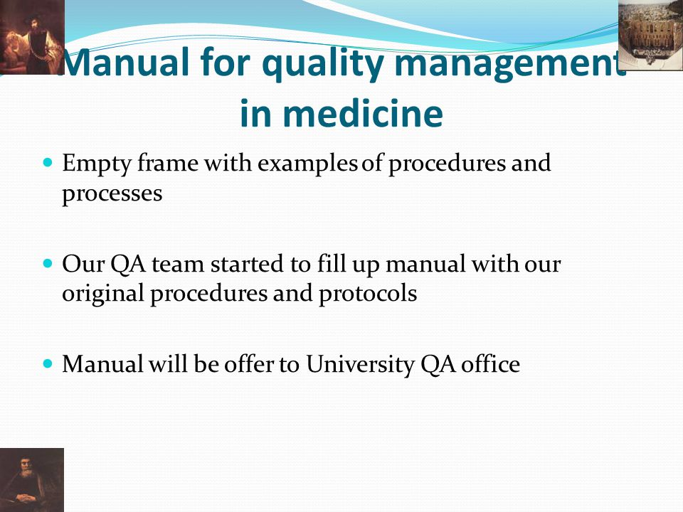 Manual for quality management in medicine