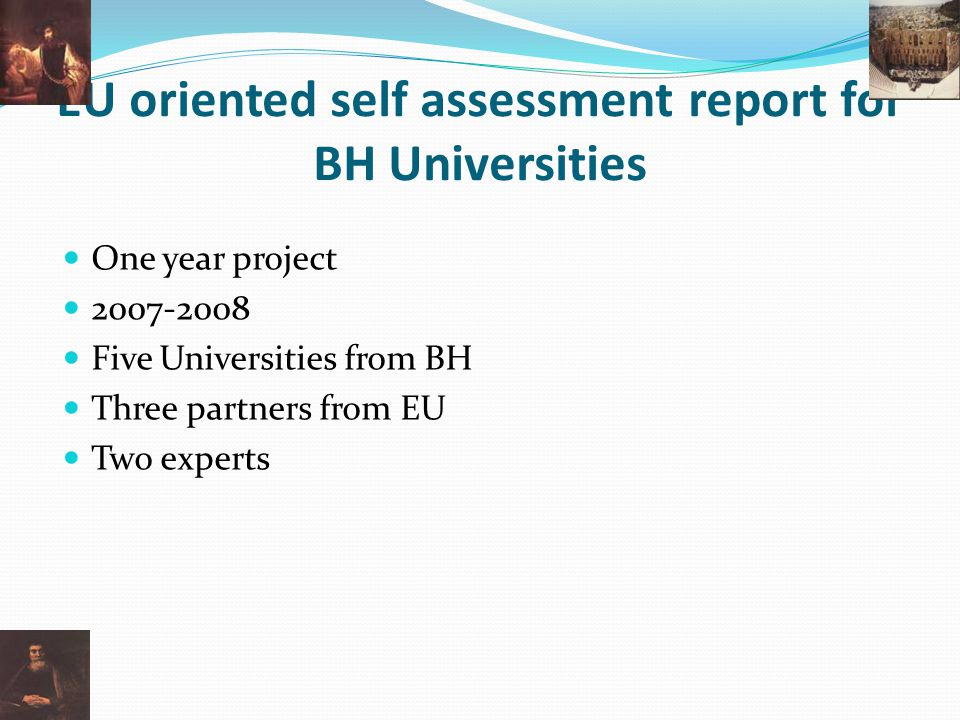 EU oriented self assessment report for BH Universities