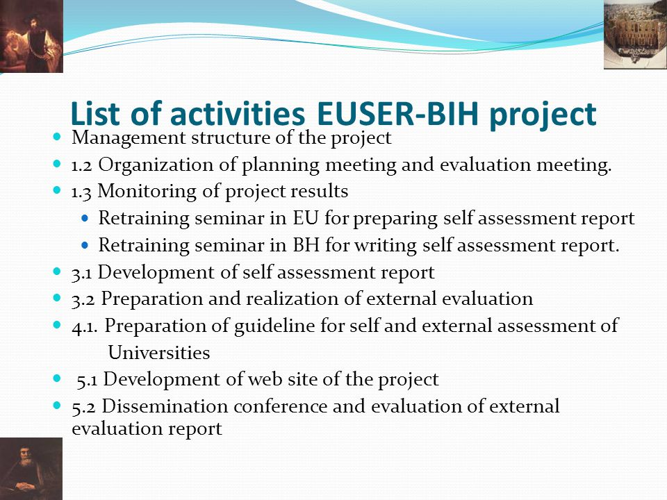 List of activities EUSER-BIH project