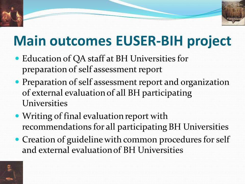 Main outcomes EUSER-BIH project