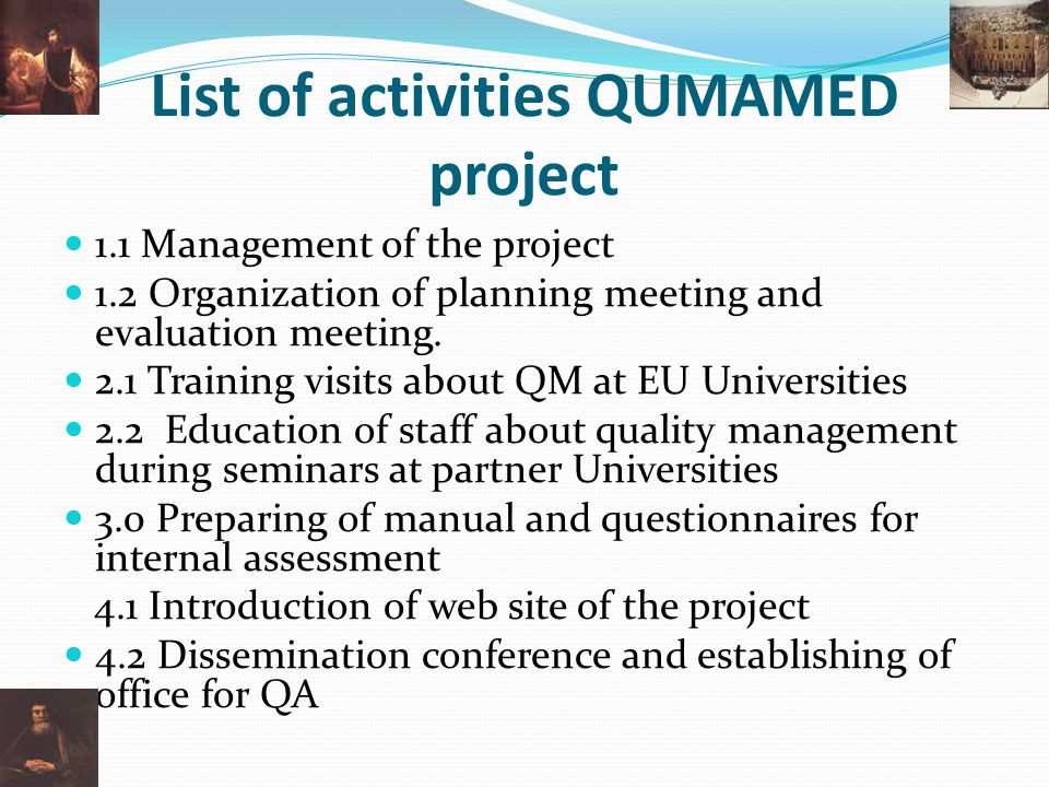 List of activities QUMAMED project