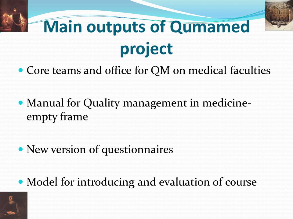 Main outputs of Qumamed project