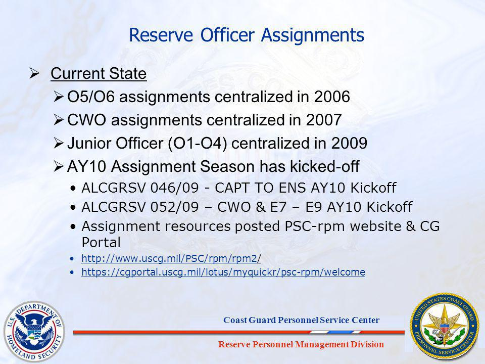 Reserve Officer Assignments