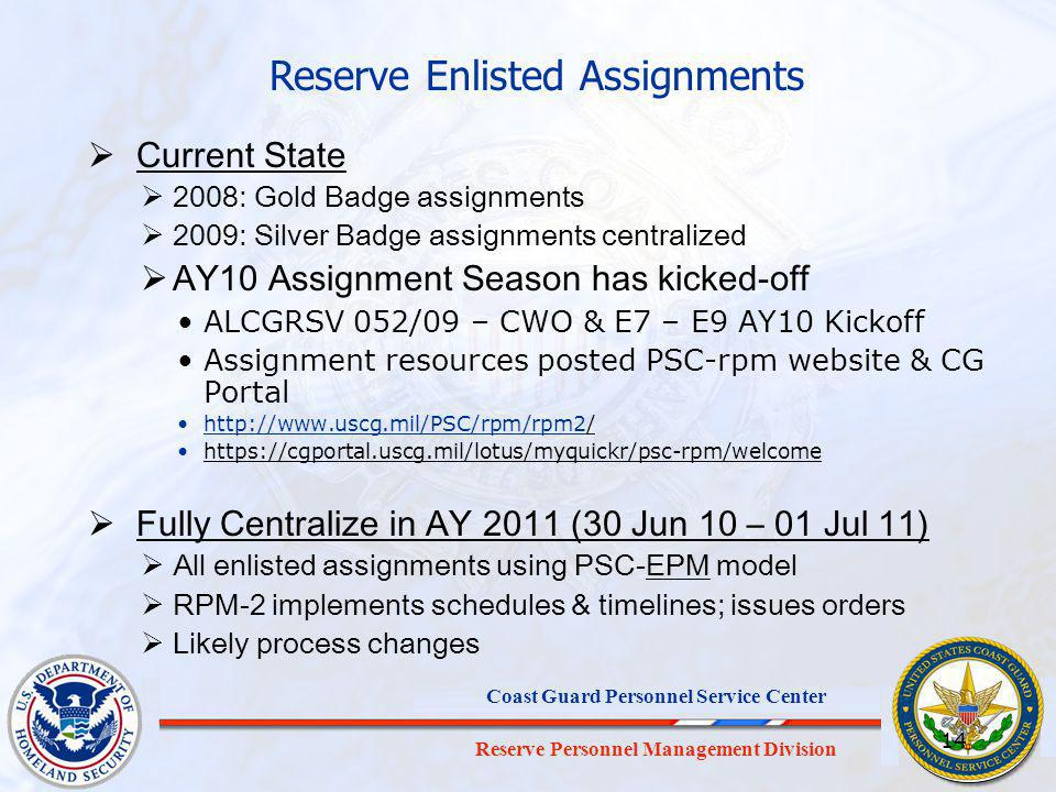Reserve Enlisted Assignments