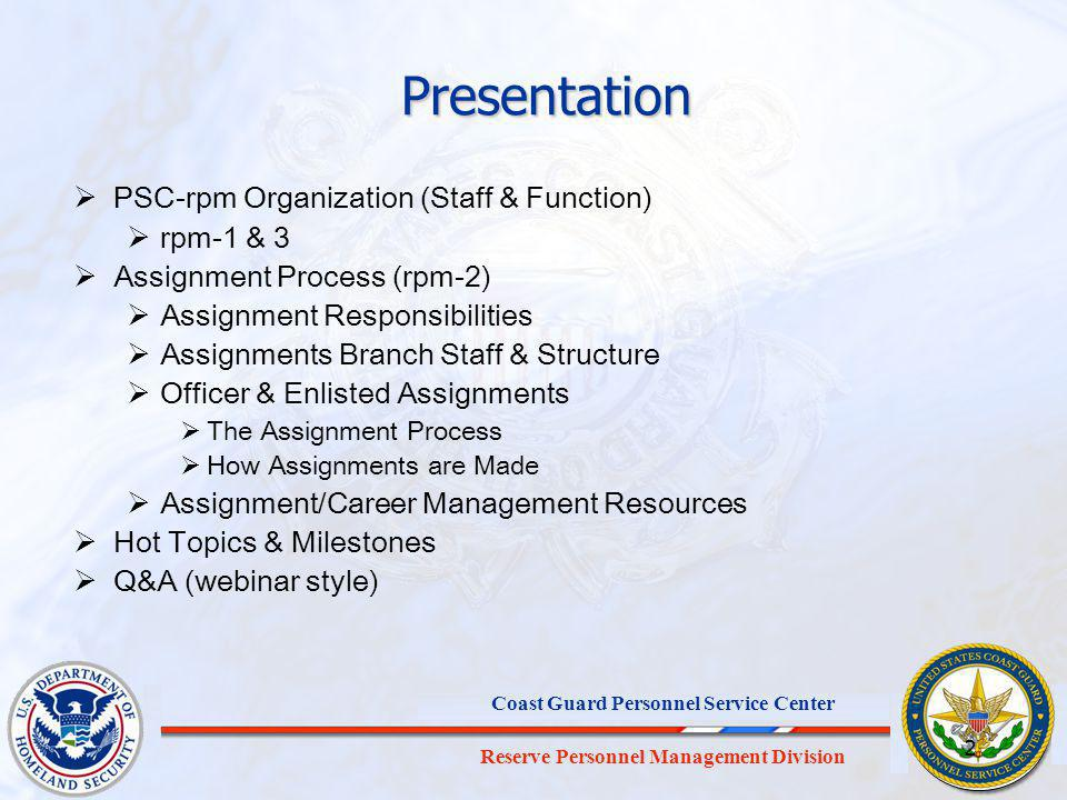 Presentation PSC-rpm Organization (Staff & Function) rpm-1 & 3