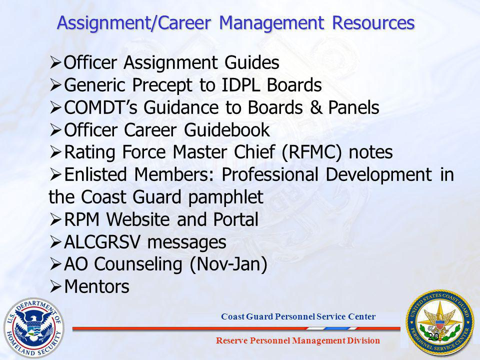 Assignment/Career Management Resources