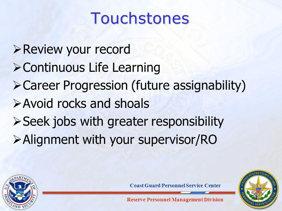Touchstones Review your record Continuous Life Learning