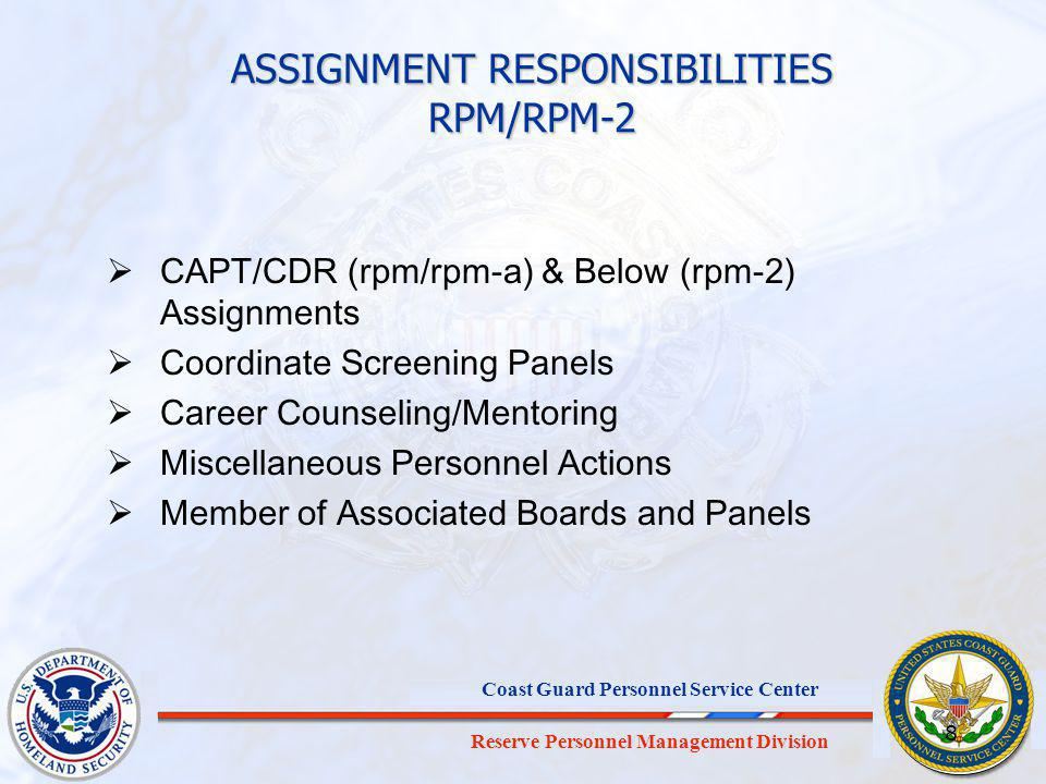 ASSIGNMENT RESPONSIBILITIES RPM/RPM-2