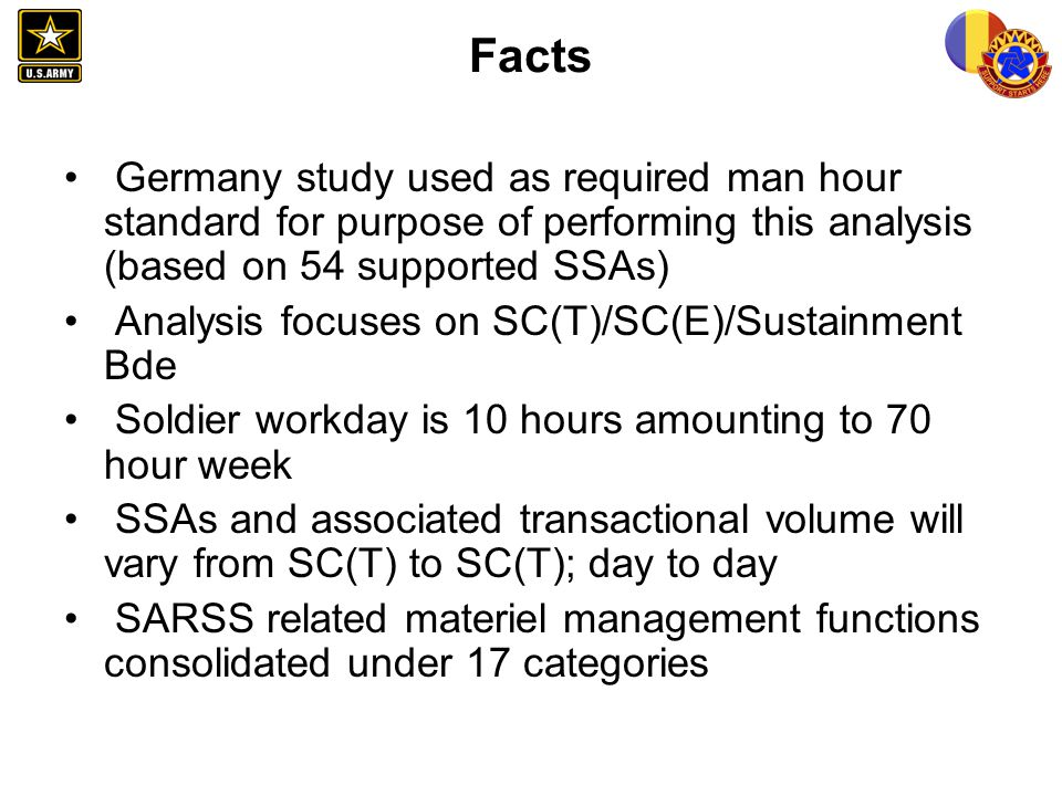 Facts Germany study used as required man hour standard for purpose of performing this analysis (based on 54 supported SSAs)