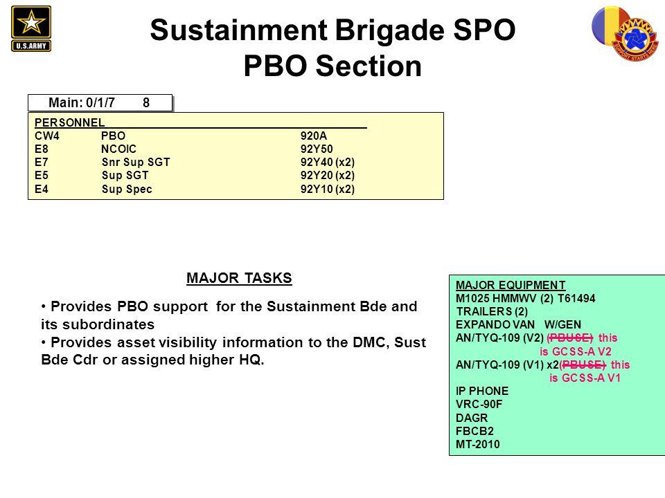 Sustainment Brigade SPO PBO Section