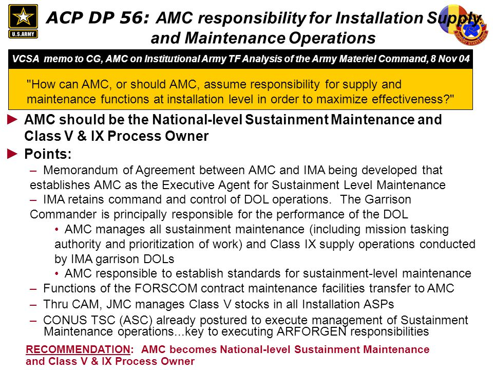 ACP DP 56: AMC responsibility for Installation Supply and Maintenance Operations