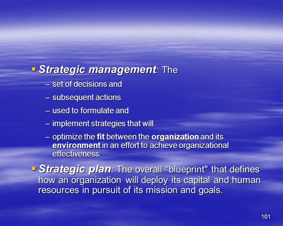 Strategic management: The