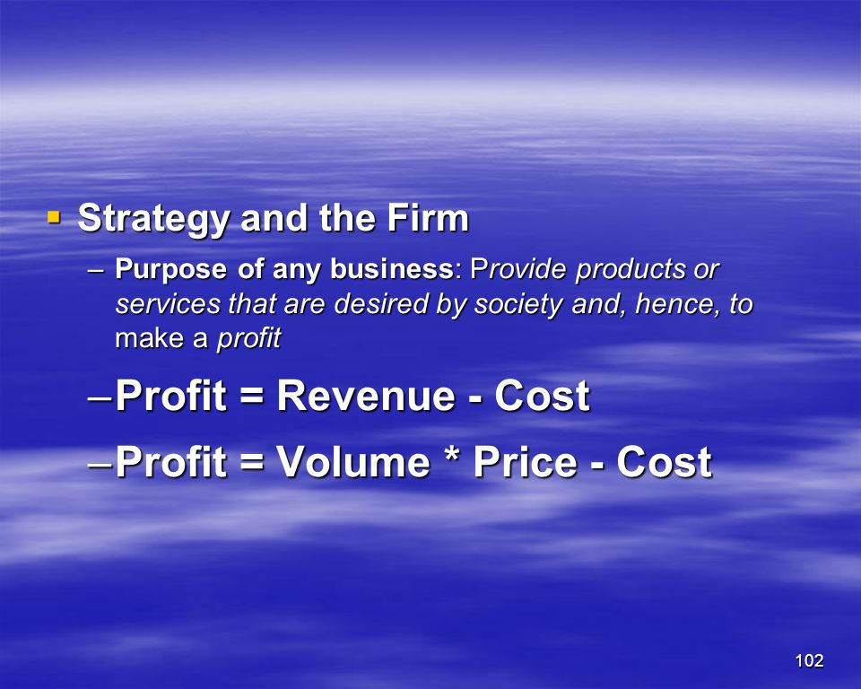 Profit = Volume * Price - Cost
