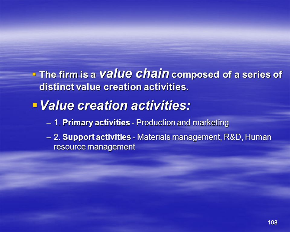 Value creation activities:
